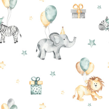Happy birthday watercolor seamless pattern with cute elephant, zebra, lion on balloons with stars, gifts on white background