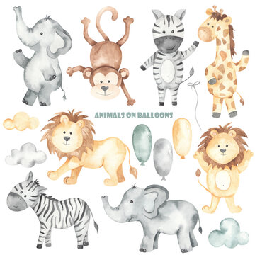 Watercolor set with animals on balloons lion, zebra, elephant, monkey, giraffe, balloons, clouds