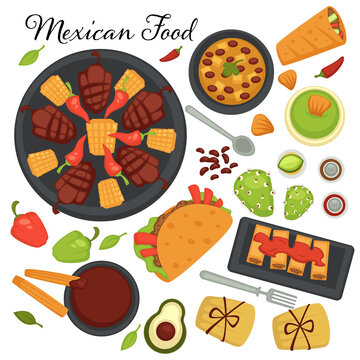 Collection of traditional mexican cuisine recipes and meals. Desserts and appetizers, taco with spicy ingredients, vegetables and meat on plate.