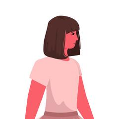 Wall Mural - beautiful brown hair girl cute child female cartoon character portrait vector illustration