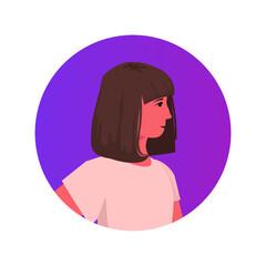 Wall Mural - beautiful brown hair girl face avatar cute child female cartoon character portrait vector illustration