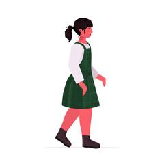 Wall Mural - beautiful girl cute child standing pose female cartoon character full length vector illustration