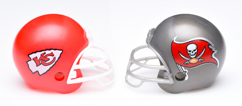IRVINE, CALIFORNIA - 25 JAN 2021: Helmets for the Tampa Bay Buccaneers, and Kansas City Chiefs, opponents in Super Bowl LV.
