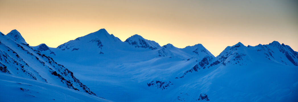 Sunset over mountains near Valdez, Alaska
