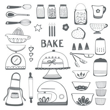Baking kitchen icon illustration set. Vector black and white outlines.