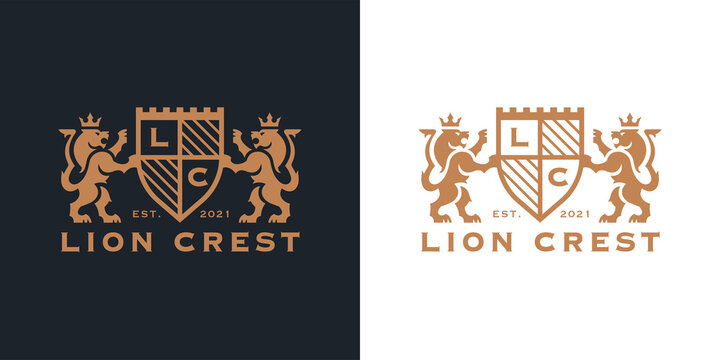 Luxury Lion crest heraldry logo. Elegant gold heraldic shield icon. Premium coat of arms brand identity emblem. Royal company label symbol. Modern vector illustration.