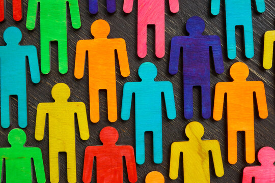 Figures with different colors as symbol of inclusion and diversity.