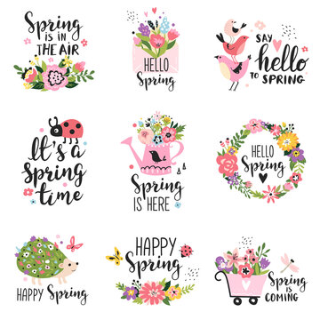 Spring labels with season calligraphy quotes, flowers, wreathes. Hand drawn vector illustration.