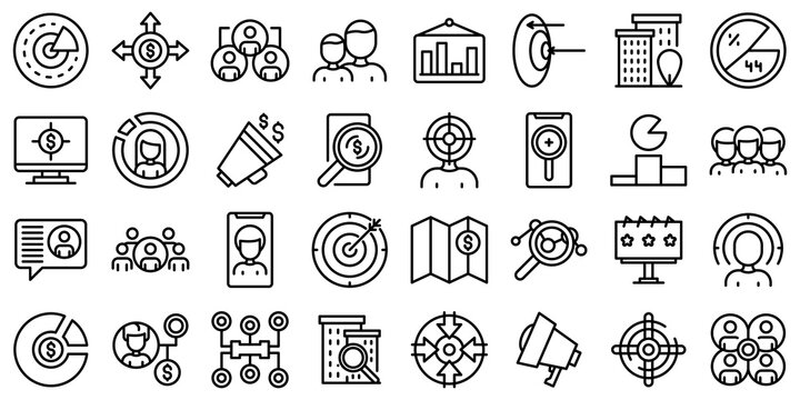 Target audience icons set. Outline set of target audience vector icons for web design isolated on white background