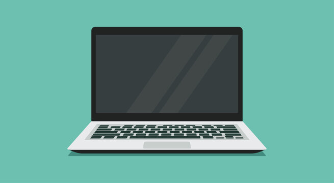 laptop computer with blank empty display screen for copy space and text on workplace, vector flat illustration