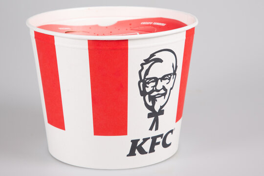 KFC restaurant sign and logo of Kentucky fried chicken box round Buckets of fast food chain store