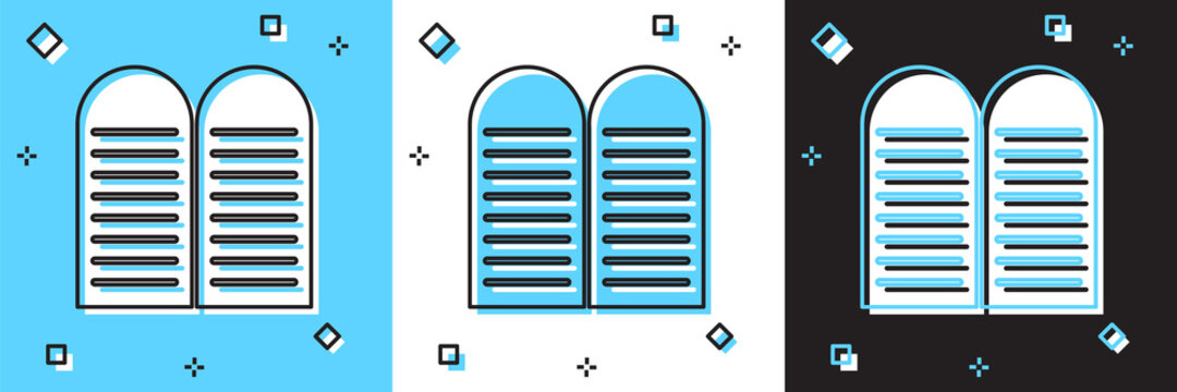 Set The commandments icon isolated on blue and white, black background. Gods law concept. Vector.