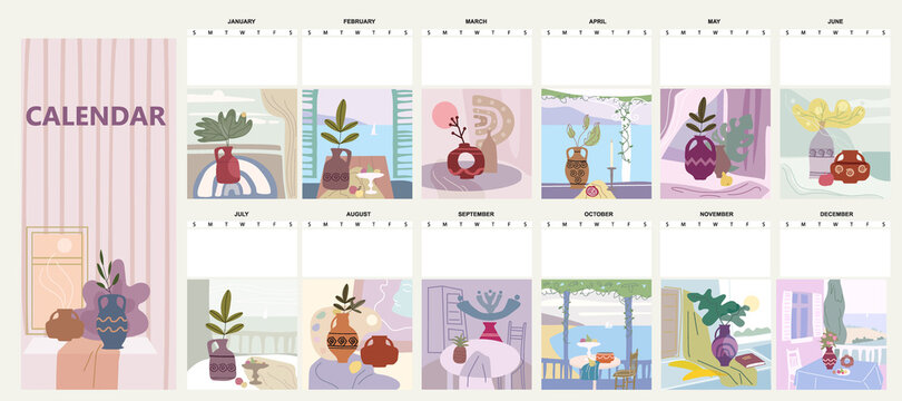 Calendar mounthly Still life abstract contemorary minimalism. Collection Vase flora intreior abstract elements shapes