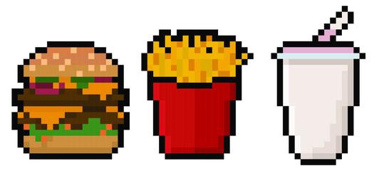 Fototapeta Set of pixel fast food items - hamburger, french fries, and a milkshake obraz