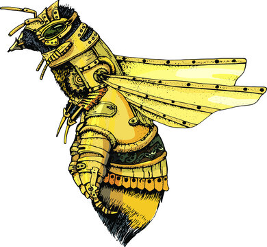 vector illustration  bee in a metal suit,steampunk