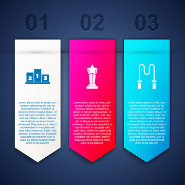 Set Award over sports winner podium, cup and Jump rope. Business infographic template. Vector.