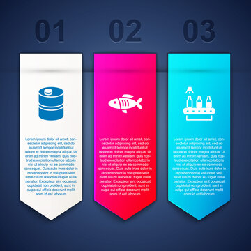 Set Metal beer keg, Dried fish and Conveyor band,. Business infographic template. Vector.