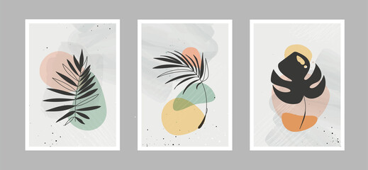 Fototapeta Modern abstract line flowers in lines and arts background with different shapes for wall decoration, postcard or brochure cover design. Vector illustrations design.