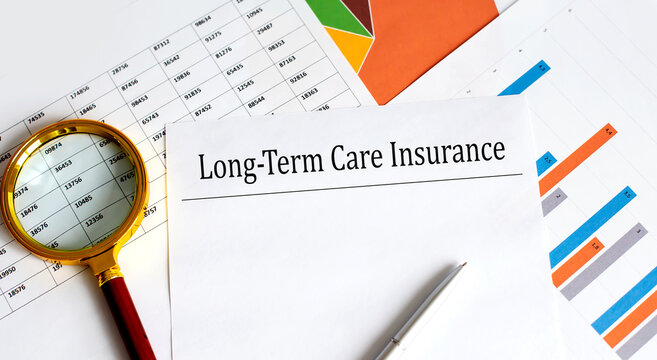Long-term care insurance text on chart background