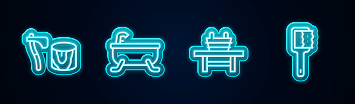 Set line Wooden axe in stump, Bathtub, Sauna bench with bucket and brush. Glowing neon icon. Vector.