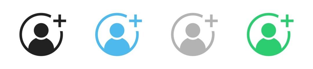 Obraz Add user icon set. Vector plus person symbol collection. - fototapety do salonu