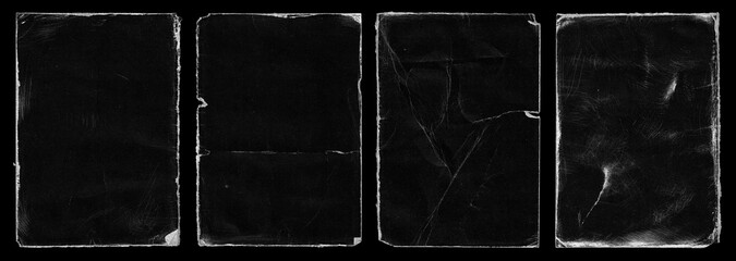 Set of Old Black Empty Aged Damaged Paper Cardboard Photo Card. Rough Grunge Shabby Scratched Torn Ripped Texture. Distressed Overlay Surface for Collage. High Quality.