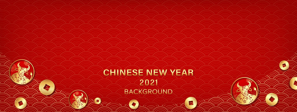 Oriental style wave pattern on red banner background with Chinese ox and brass coin symbols at border for 2021 new year concept