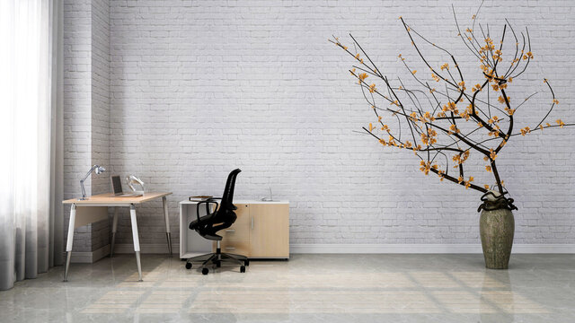 Minimalistic home office interior backdrop, photorealistic 3D illustration, suitable for video conference and Zoom background.