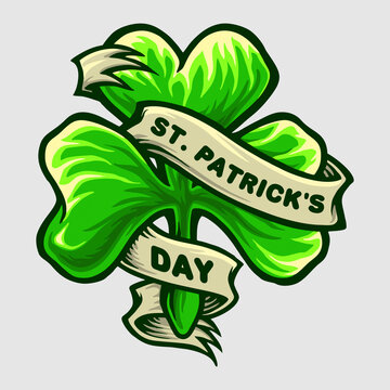 Clover Leaf Logo St Patricks Day Party illustrations for your work Logo, mascot merchandise t-shirt, stickers and Label designs, poster, greeting cards advertising business company or brands.