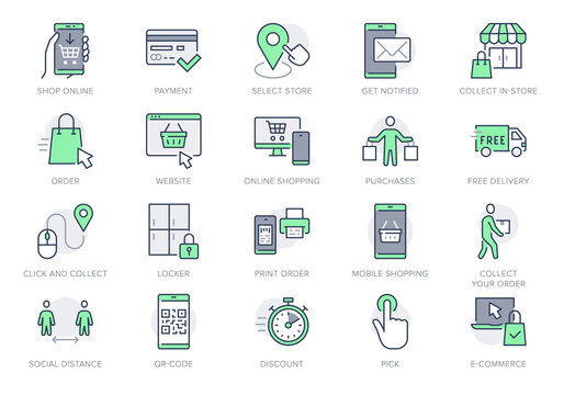 Click and collect service line icons. Vector illustration with icon - online shopping, qr code, basket, delivery, package, store outline pictogram for e-commerce. Green Color Editable Stroke