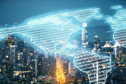 Virtual digital map of North America on San Francisco skyline background, international trading concept. Multiexposure