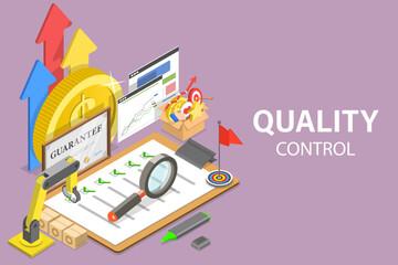Fototapeta 3D Isometric Flat Vector Conceptual Illustration of Quality Control. obraz