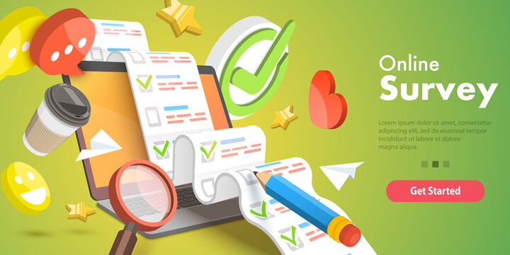 3D Isometric Flat Vector Conceptual Illustration of Online Survey, Customer Rating and Feedback, Quality Test, Client Satisfaction Research.