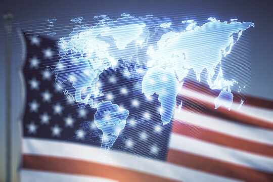 Double exposure of abstract digital world map hologram on US flag and blue sky background, big data and blockchain concept