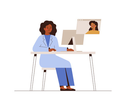 Online Doctor or Medical Service concept. Young woman has a video consultation on health issues with her doctor or Social Worker. Vector  illustration