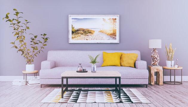 3d Illustration - Skandinavisches, nordisches Wohnzimmer mit einem Sofa, Tisch und einem Bild an der Wand - Textfreiraum - Platzhalter - Retro Look