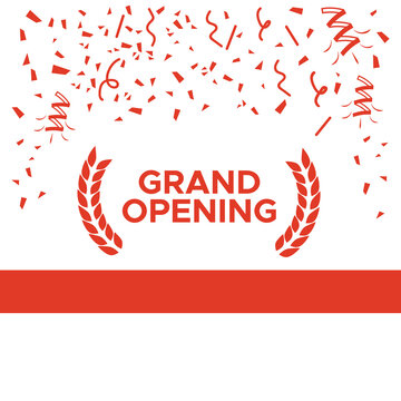 Ribbon cutting with scissors grand opening vector poster.
