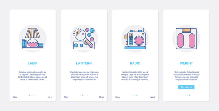Electronics store, small household appliances vector illustration. UX, UI onboarding mobile app page screen set with line lighting home domestic technology, electric lamp lantern radio scales symbols
