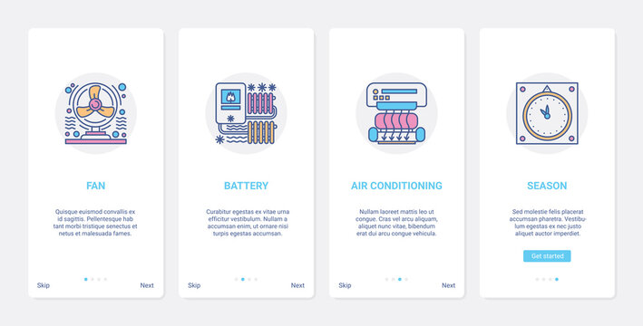 Air conditioning, heating home appliances vector illustration. UX, UI onboarding mobile app page screen set with line room temperature regulator, fan heater battery conditioner for electronics store
