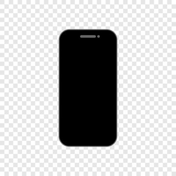 Black smartphone with empty touch screen, new model - stock vector