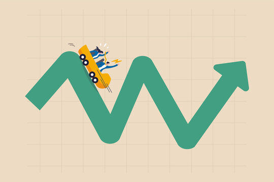 Investment volatility metaphor of riding roller coaster, financial stock market fluctuation rising up and falling down concept, people investors riding roller coaster on fluctuated market chart.