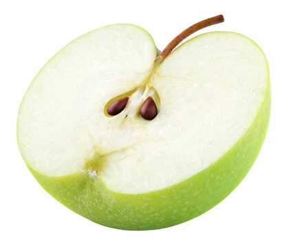 Green apple half with seeds and stem isolated on white background. Half of green apple fruit with clipping path. Full Depth of Field