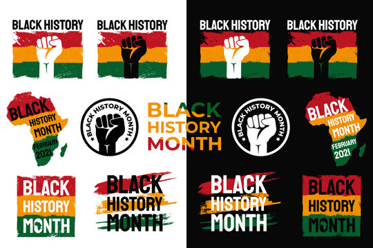 Black History Month. African American History. Celebrated annual. In February in United States and Canada. lables on dark and light backgrounds