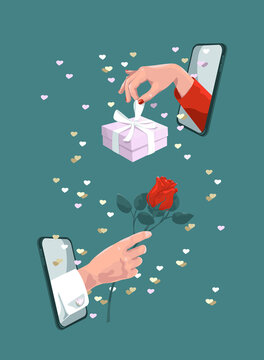 online romantic gift, message, dating and communication concept valentines day, social distancing with COVID-19 crisis. Hand from mobiles with present and rose.  Love at distance.Virtual date.