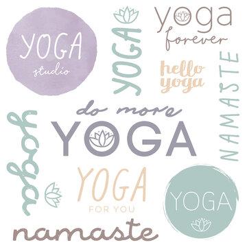 Yoga Logo Set in soft colors