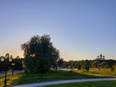 Summer evening. Volga embankment is the pearl of Yaroslavl. Park on the Arrow