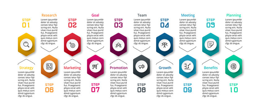10 steps to describe work processes, plan meetings, conduct and summarize results, including reporting results through hexagonal design, vector infographics.