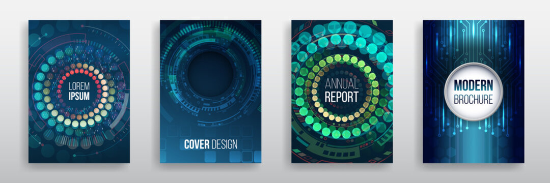 Vector template for brochure or cover with hi-tech elements background. Blue layout futuristic brochures, flyers, placards. Contemporary science and digital technology concept.