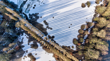 Aerial Drone winter photography of Didsbury Manchester Fletcher Moss Wall mural