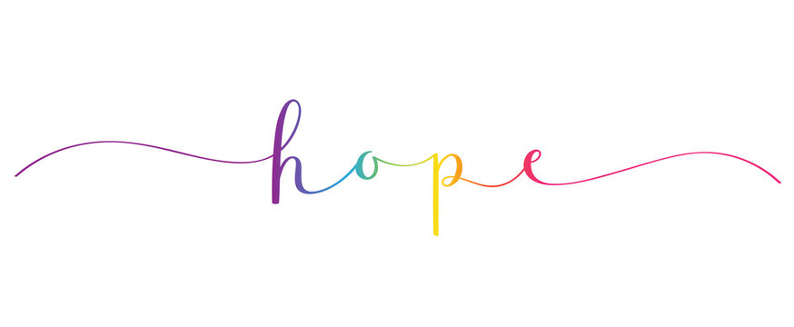 HOPE vector rainbow gradient brush calligraphy banner with swashes isolated on white background